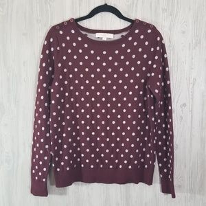 Loft Button Shoulder Maroon and Grey Sweater Large